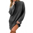 Mock Neck Long Sleeve Plain Loose Tunic Sweater