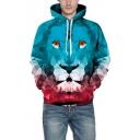 Unisex Geometric Lion Print Long Sleeve Casual Hoodie