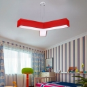 Acrylic Letter Y Shape Pendant Light Modern Kindergarten Kids Hanging Ceiling Lamp in Blue/Yellow/Red