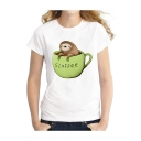 Sloth Cup Letter Print Round Neck Short Sleeve Graphic T-Shirt