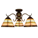 Multicolored Pyramid Glass Shade 3-Light Semi Flush Mount Ceiling Light for Living Room Dining Room