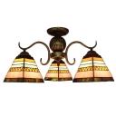 Multicolored Pyramid Glass Shade 3-Light Semi Flush Mount Ceiling Light for Living Room Dining Room