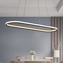 Decorative Modern Lighting Oval Shaped Black Acrylic Led Pendant Light 20-31W  48