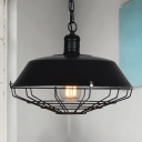 Vintage Black Barn Shade Wire Guard Single Hanging Light with Black Chain for Restaurant Warehouse