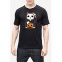 Cat Pumpkin Print Round Neck Short Sleeve Slim T-Shirt