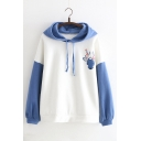Cartoon Deer Print Color Block Long Sleeve Hoodie