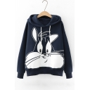 Casual Rabbit Pattern Long Sleeve Loose Hoodie