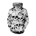 3D Skull Over All Print Long Sleeve Loose Hoodie