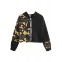 Letter Print Contrast Camouflage Panel Long Sleeve Cropped Hoodie
