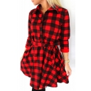 Check Lapel Collar 3/4 Length Sleeve Button Front Mini Shirt Dress