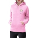 Lovely Pocket Cat Print Long Sleeve Leisure Hoodie