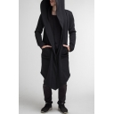 Cool Black Plain Long Sleeve Open Front Tunic Hooded Coat for Men
