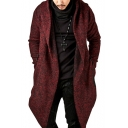 Long Sleeve Plain Open Front Asymmetric Hem Hooded Coat for Men