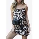 Sexy Leopard Print Spaghetti Straps Sleeveless Mini Cami Dress