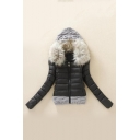 Faux Fur Collar Long Sleeve Contrast Sweater Patchwork Zip Up Padded Hooded Jacket