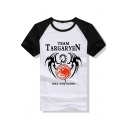 Color Block Raglan Short Sleeve Letter Dragon Print Round Neck Leisure Tee Top
