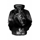 3D Monster Boy Print Long Sleeve Casual Hoodie