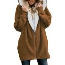 Plain Long Sleeve Loose Zip Up Hooded Faux Fur Coat