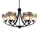 Lodge Style Elk Pattern House Shade Inverted Chandelier with Wrought Iron Arms 2 Designs for Option