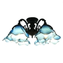 Special Designed Blue Flower Shape 6-Light Semi Flush Ceiling Light in Black Finish 26.77