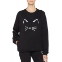 Casual Heart Cat Pattern Round Neck Long Sleeve Pullover Sweatshirt