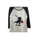 Dinosaur Heart Print Color Block Raglan Sleeve Round Neck Tee Top
