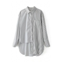 Contrast Striped Panel Long Sleeve Lapel Collar Button Closure Unbalanced Shirt