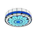Mediterranean Style Blue Stained Glass Large Size Ceiling Light Featuring Lily Pattern