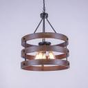 Indoor Five Light Hanging Chandelier Pendant Light with Wood Iron Frame in Black