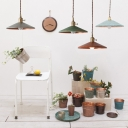 Industrial Single Light Source with Saucer Shade Hanging LED Pendant Lamp Multi-Color for Choice