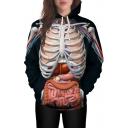 3D Skeleton Organ Printed Long Sleeve Casual Hoodie