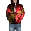3D Colorful Wolf Print Long Sleeve Casual Hoodie