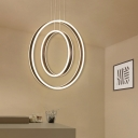 Contemporary Large Halo LED Chandelier 125W Brushed Aluminum 2 Ring Concentric LED Hanging Chandeliers in Brown Home Deco Lights (Warm White Neutral)