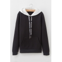 Letter Drawstring Contrast Hood Long Sleeve Leisure Hoodie