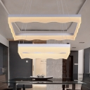 Matte White Acrylic Lampshade 2 Ring Rectangular LED Chandelier 15.75