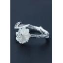 Jasmine Floral Embellished Open Front Adjustable Ring