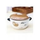 Lovely Cat Letter Ceramic Bowl with Lid