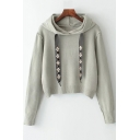 Jewel Embellished Drawstring Hood Long Sleeve Cropped Hoodie