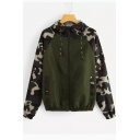 Contrast Camouflage Long Sleeve Zip Up Hooded Anorak Jacket
