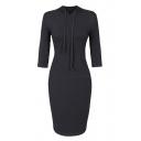 Essential 3/4 Length Sleeve Plain Long Sleeve Hooded Midi Bodycon Dress