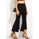 Zipper Side Plain High Waist Asymmetric Hem Cropped Flare Pants