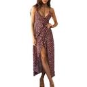 Spaghetti Straps Sleeveless Floral Print Split Front Maxi Cami Dress