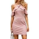 Sexy Cold Shoulder Ruffle Detail Plain Short Sleeve Mini Bodycon Dress