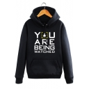YOU ARE Letter Graphic Print Long Sleeve Hoodie