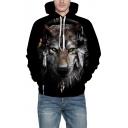 3D Earphone Wolf Print Long Sleeve Casual Hoodie