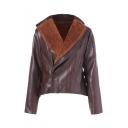 Winter's New Arrival Long Sleeve Zip Up Dark Brown PU Biker Jacket