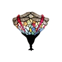 Dragonfly Collection Blue Stained Glass 1-light Sconce in Dark Bronze Finish
