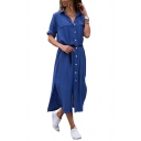 Lapel Collar Long Sleeve Plain Split Side Button Front Maxi Shirt Dress