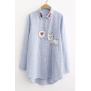 Cat Fish Embroidered Striped Lapel Collar Button Closure Long Sleeve Shirt