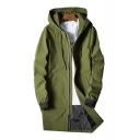 Plain Long Sleeve Rib Knit Cuffs Zip Up Hooded Coat